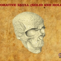 DecorativeSkull.jpg Download STL file Decorative Skull (Solid And Hollow) • 3D printable template, 3DWP