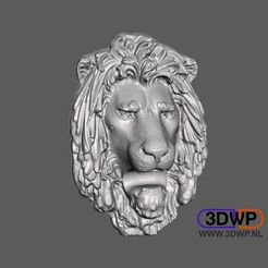 LionHead.jpg Download free STL file Lion Head Wall Hanger (Sculpture 3D Scan) • 3D printing object, 3DWP