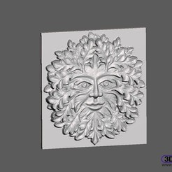 Download free STL Green Man Bas Relief Wall Hanger, 3DWP