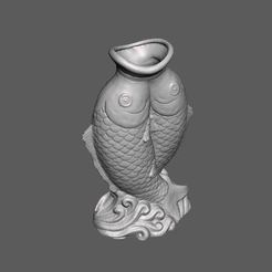 FishVase.JPG Download free STL file Fish Sculpture Vase • Model to 3D print, 3DWP