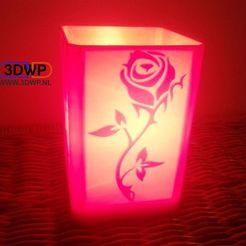 RoseLithophaneLampRed_display_large.jpg Download STL file Rose Lithophane Lamp • 3D printable model, 3DWP