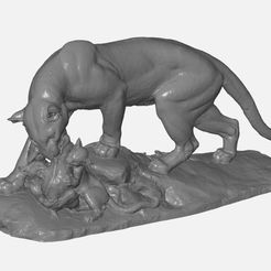 Download free 3D printer templates Panther Sculpture 3D Scan, 3DWP