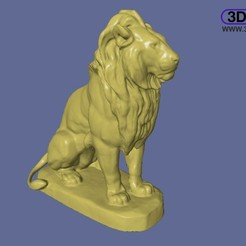Download free STL file Sitting Lion Sculpture • 3D printer template, 3DWP