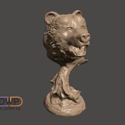 Descargar Modelos 3D para imprimir gratis Cabeza de Oso en el Soporte, 3DWP