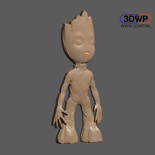Télécharger plan imprimante 3D gatuit Bébé Groot Bas Relief, 3DWP