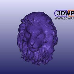 LionHeadWallHanger1.jpg Download free STL file Lion Head Wall Hanger (Lion Sculpture 3D Scan) • 3D printer template, 3DWP
