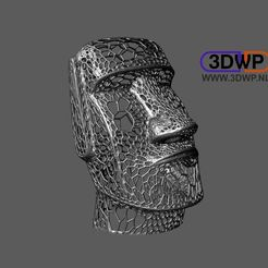 Descargar Modelos 3D para imprimir gratis Estilo Moai Voronoi (Escultura de la Isla de Pascua), 3DWP