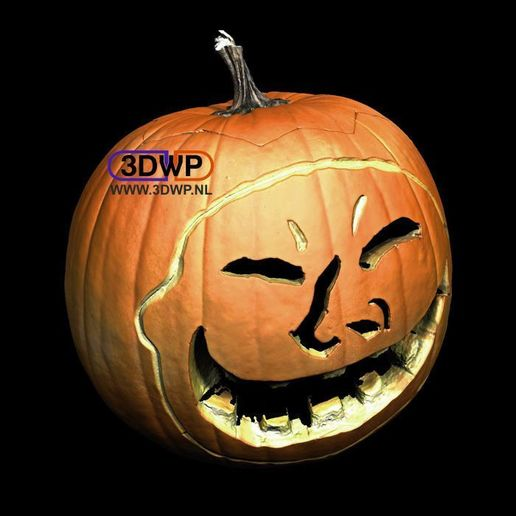 Download free STL files Halloween Pumpkin With Face (3D Scan), 3DWP