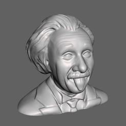 EinsteinTongue.jpg Download free STL file Albert Einstein Bust • 3D printer template, 3DWP