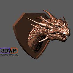 Download free STL Dragon Head Wall Mount (Trophy), 3DWP