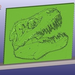T-RexLithophane.jpg Download free STL file T-Rex Skull Lithophane With Stand • 3D printing object, 3DWP