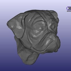 LPBoxer.jpg Download STL file Low Poly Boxer Head (Dog Head Wall Hanger) • 3D printing model, 3DWP