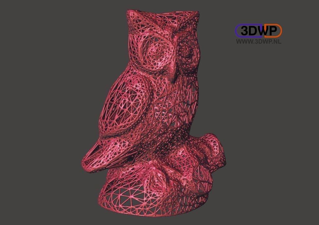 OwlVoronoi.jpg Télécharger fichier STL gratuit Numérisation 3D de la statue de hibou (style Voronoï) • Objet à imprimer en 3D, 3DWP