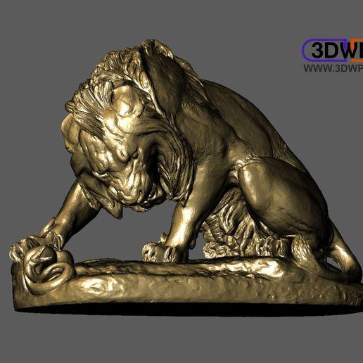Download free STL file Lion Crushing A Serpent (Antoine-Louis Barye) • 3D printer design, 3DWP