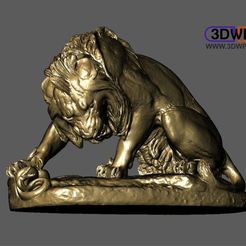 Download free STL file Lion Crushing A Serpent (Antoine-Louis Barye) • 3D printer design, 3DWP