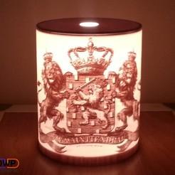 20150314_152907.jpg Download free STL file Wapen Van Nederland (Coat Of Arms Of The Netherlands) Lithophane Lamp • Design to 3D print, 3DWP