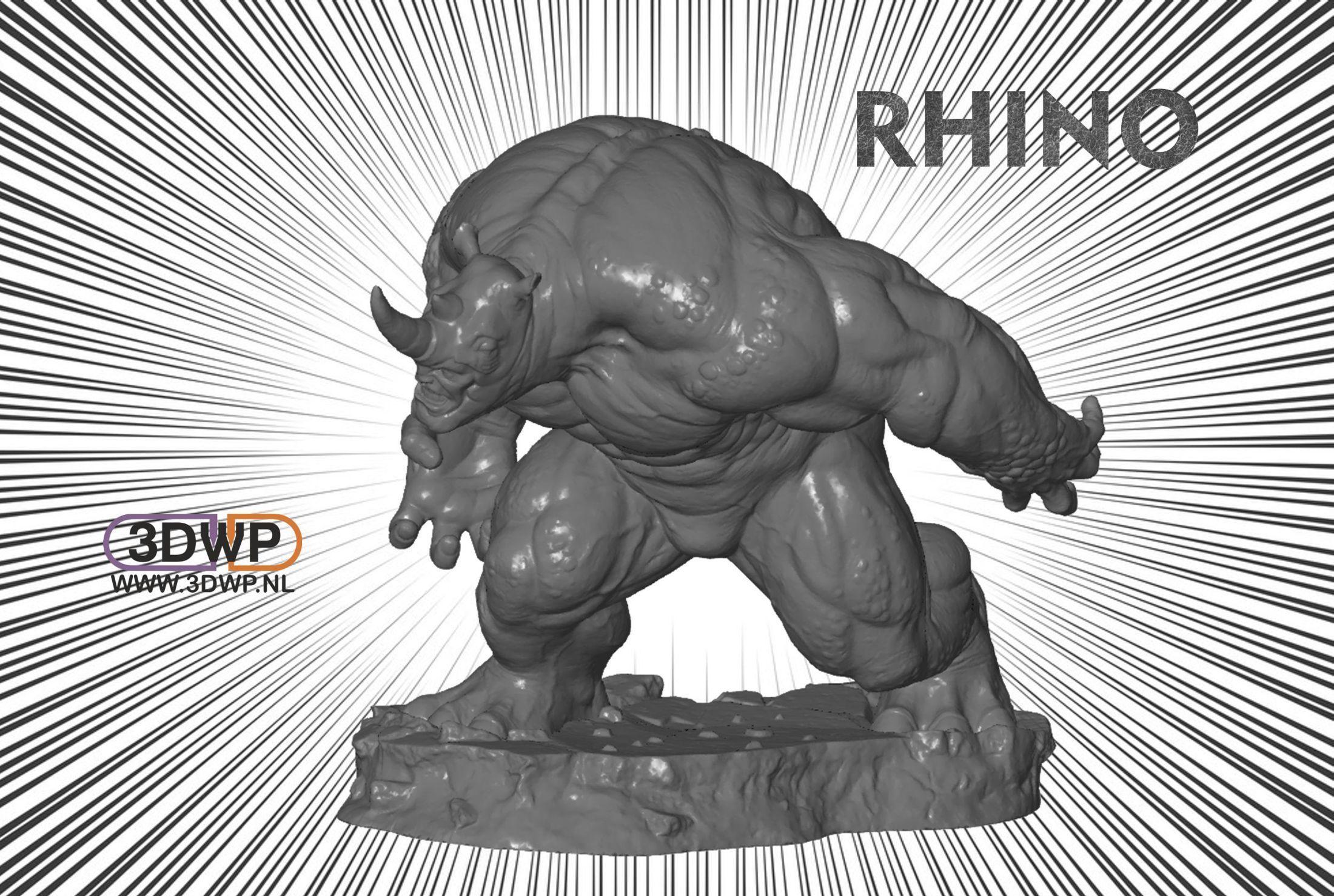 Rhino.jpg Download free STL file Rhino Statue (Spider-Man) • 3D printer template, 3DWP