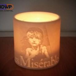 Download 3D printing files Les Misérables Tea Light Holder (Miserables Lithophane), 3DWP