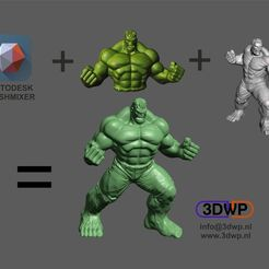 Download free 3D printer files Hulk Sculpture (MeshMixer Combo), 3DWP