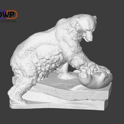 Download free STL file Polar Bear Sculpture (3D Scan) • 3D printing template, 3DWP