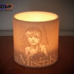 Descargar archivo 3D Portavelas Les Misérables (Miserables Lithophane), 3DWP