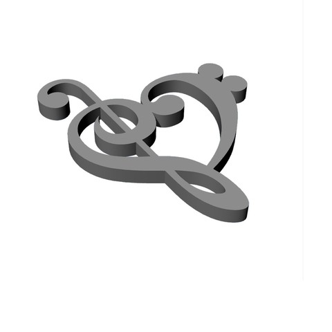 Untitled-3.jpg Download STL file heart music note • Object to 3D print, ToneRjewelery