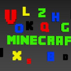 """lettres.PNG Download STL file Alphabet and numbers 3D make """"Minecraft."""" • 3D print model, Karben"""