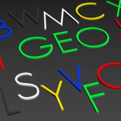 "lettres.PNG Download STL file Alphabet and numbers 3D make ""Geo"""" • 3D print template, Karben"