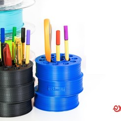 pen holder thing.jpg Download free STL file Drunken spool pen holder • 3D printer model, Extrudr