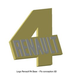Download 3D printer designs Renault R4 logo Base, fanfy54