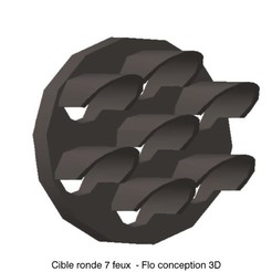 Cible ronde 7 feux.jpg Download STL file Round target 7 lights 1/87 HO • 3D printer template, fanfy54