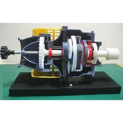 Download 3D printer templates Jet Engine Component (10-1): Air Starter, Axial Turbine type, Cutaway, konchan77