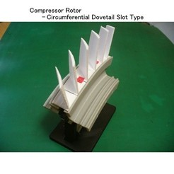 Download free 3D printer designs Jet Engine Component (1-1); Axial Compressor - Circumferential Dovetail Slot Type, konchan77