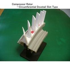 Descargar STL gratis Componente del motor a reacción (1-1); Compresor axial - Tipo de ranura de cola de milano circunferencial, konchan77