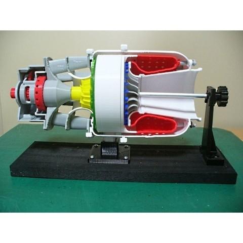 STL file Turboshaft Engine, with Radial Compressor and Turbine - Cutaway, konchan77