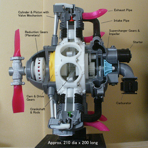 Assy-01a.png Download STL file Radial Engine, 7-Cylinders, Cutaway • 3D printer design, konchan77
