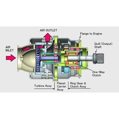 Download STL files Jet Engine Component (10): Air Starter, Axial Turbine type, konchan77