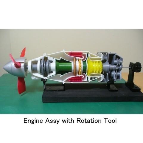 STL file Turboprop Engine, for Business Aircraft, Free Turbine Type, Cutaway, konchan77