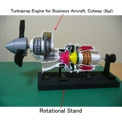 Free 3D printer designs Rotational Stand for Turboprop Engine Cutaway, konchan77