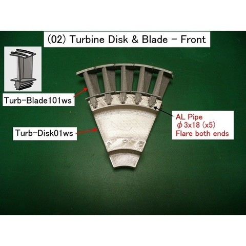 02-Turb-Disk-Blade01.jpg Download STL file Jet Engine Component (2); Axial Turbine • 3D print template, konchan77