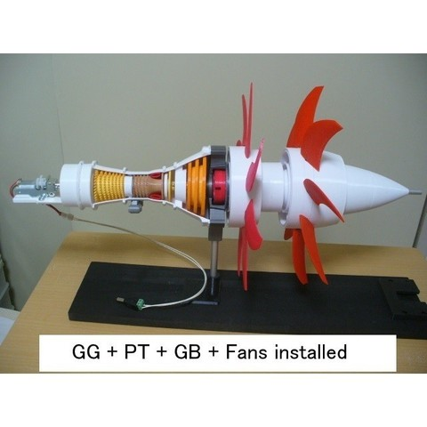 06-GG-PT-GB-Fan-Assy101.jpg Download STL file Propfan Engine, Pusher Type using with Planetary Gearbox • 3D printer template, konchan77
