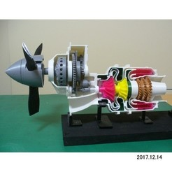STL files Turboprop Engine, for Business Aircraft, Cutaway, konchan77