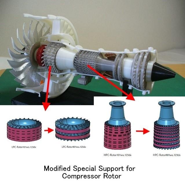 Mod-Support-Rotor01.jpg Download free STL file Jet Engine; Geared Turbofan (GTF), Modified Parts • 3D print template, konchan77