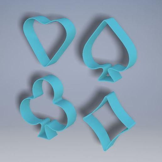 All.JPG Download free STL file Cards Cookie Cutters (4 Pack) • 3D print design, Jdog