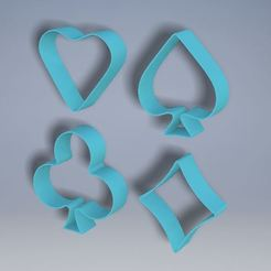 All.JPG Download free STL file Cards Cookie Cutters (4 Pack) • 3D print design, Jdog