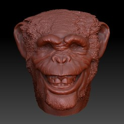 jggjgjgh.jpg Download OBJ file Smiling Chimpance Head (Monkey Head) - Smiling Chimpance Head • 3D printable template, JoacoKin