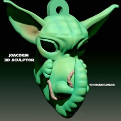 Download 3D printing templates Baby Yoda Keychain (Embryo) - Ultra profitable No supports version, JoacoKin
