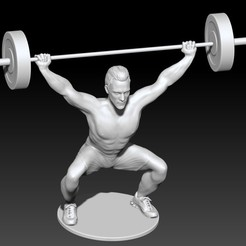 Descargar modelos 3D para imprimir Man lifting weights (snatch) V2 - Hombre levantando barra V2, JoacoKin