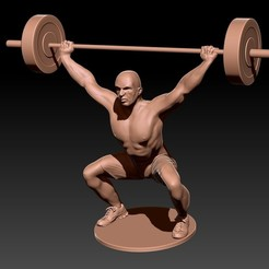 Download STL file Man lifting Weights - Man making weights (Snatch), JoacoKin