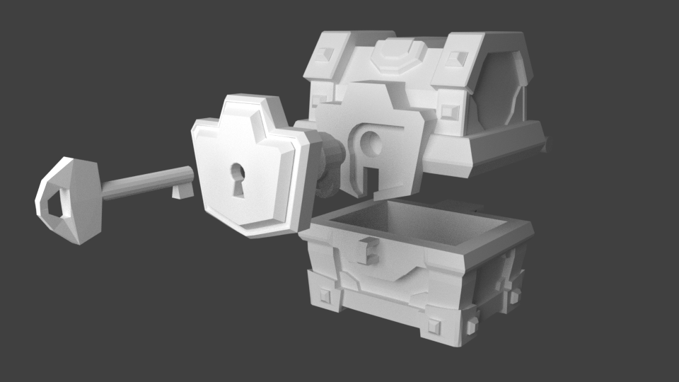 cofre magic 1.png Download STL file Magical chest with key in the Clash Royale • 3D print design, JuanMA